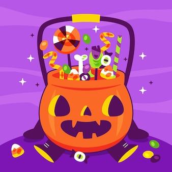 Нарисованная рукой плоская иллюстрация мешка хэллоуина