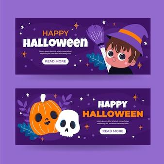 Set di banner di halloween piatto disegnato a mano