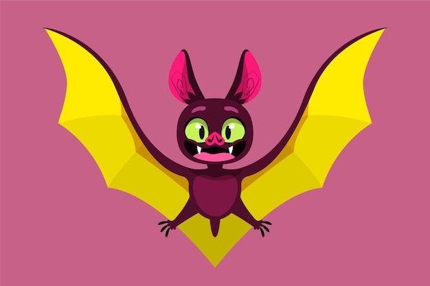 Illustrazione di pipistrello di halloween piatto disegnato a mano