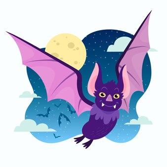Hand drawn flat halloween bat illustration