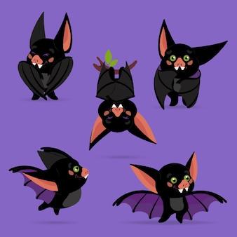 Hand drawn flat halloween bats illustration