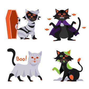 손으로 그린 평면 할로윈 검은 고양이 컬렉션