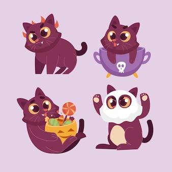 Коллекция рисованной плоских кошек на хэллоуин