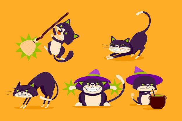 手描きフラットハロウィン黒猫コレクション