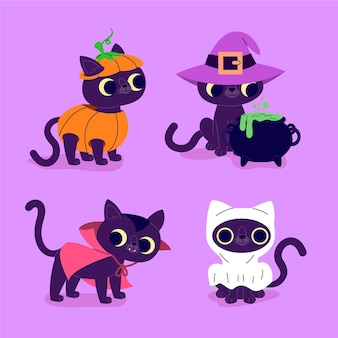 Hand drawn flat halloween black cats collection