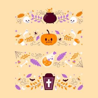 Collezione di bordi piatti di halloween disegnati a mano