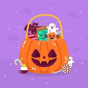 Нарисованная рукой плоская иллюстрация мешка конфет хэллоуина
