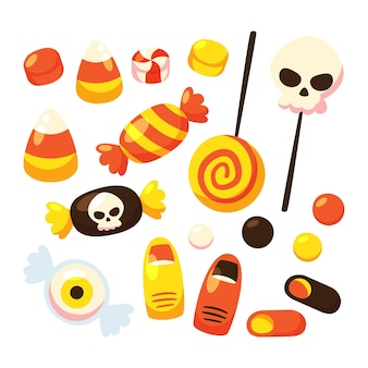 Hand drawn flat halloween candy collection