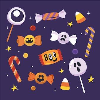 Collezione di caramelle di halloween piatte disegnate a mano