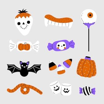 Коллекция рисованной плоских конфет хэллоуина