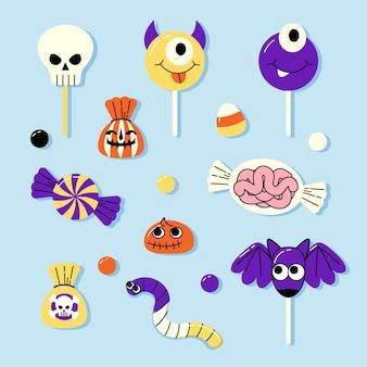 Коллекция рисованной плоских конфет на хэллоуин