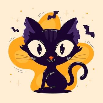 Hand drawn flat halloween cat illustration