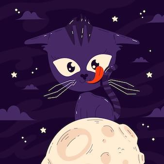 手描きフラットハロウィン猫イラスト