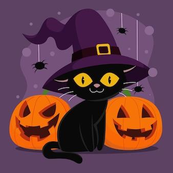 Нарисованная рукой плоская иллюстрация кошки хэллоуина