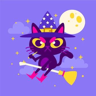 Illustrazione disegnata a mano del gatto di halloween piatto
