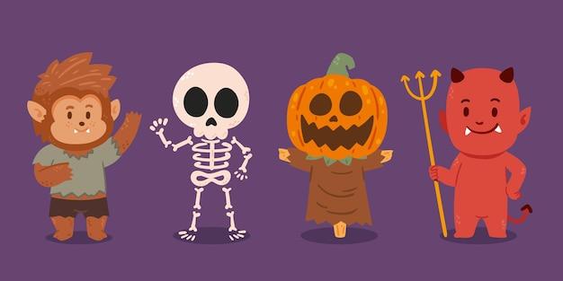 Collezione di personaggi di halloween piatti disegnati a mano