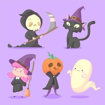 Коллекция рисованной плоских персонажей хэллоуина Бесплатные векторы