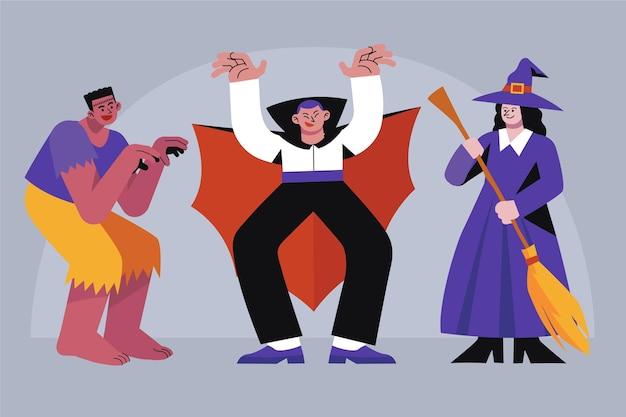 Коллекция рисованной плоских персонажей хэллоуина