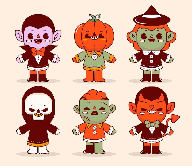 Hand drawn flat halloween characters collection