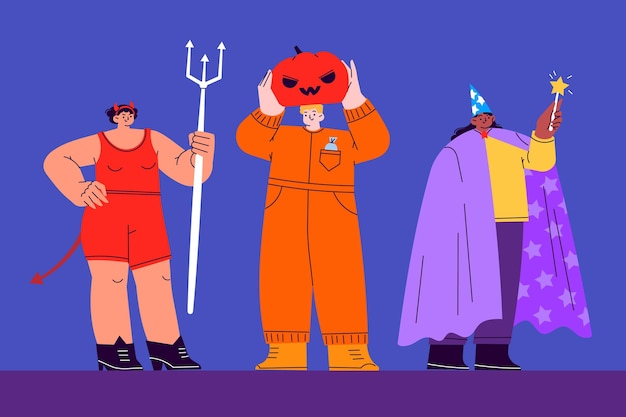 Hand drawn flat halloween costumes collection