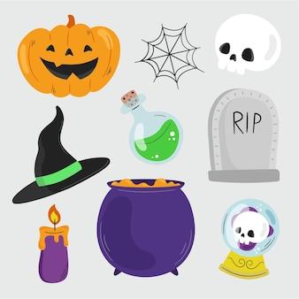 Collezione di elementi piatti di halloween disegnati a mano