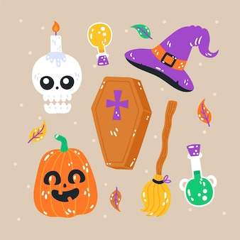 Hand drawn flat halloween elements collection