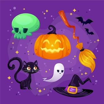 Коллекция рисованной плоских элементов хэллоуина