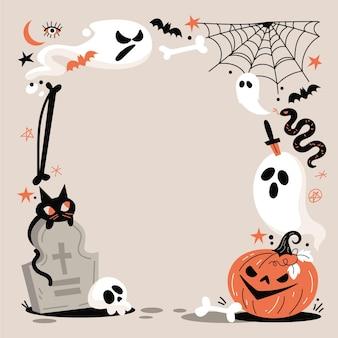 Hand drawn flat halloween frame template
