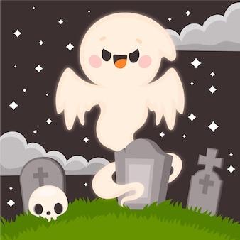 Нарисованная рукой плоская иллюстрация призрака хэллоуина