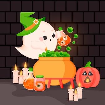 Hand drawn flat halloween ghost illustration