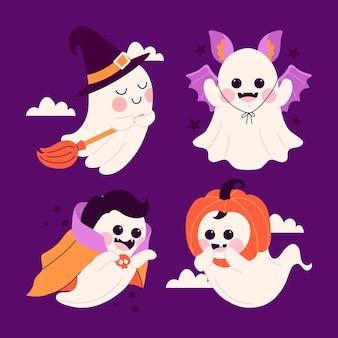 Illustrazione disegnata a mano del fantasma di halloween piatto