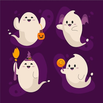 Hand drawn flat halloween ghosts collection