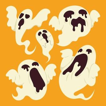 手描きの平らなハロウィーンの幽霊のイラスト