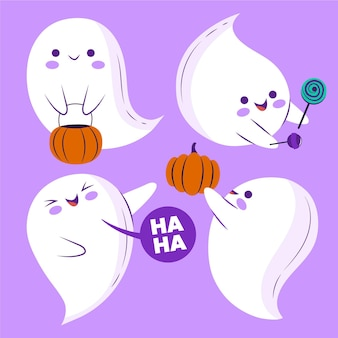 Hand drawn flat halloween ghosts illustration