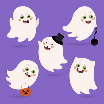 Нарисованная рукой плоская иллюстрация призраков хэллоуина
