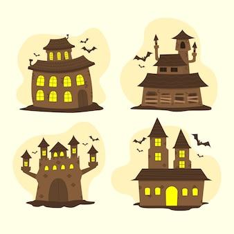 Collezione di case stregate di halloween piatte disegnate a mano