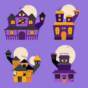 Hand drawn flat halloween haunted houses collection
