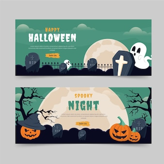 Hand drawn flat halloween horizonal banners set