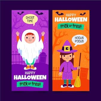 Hand drawn flat halloween horizontal banners set