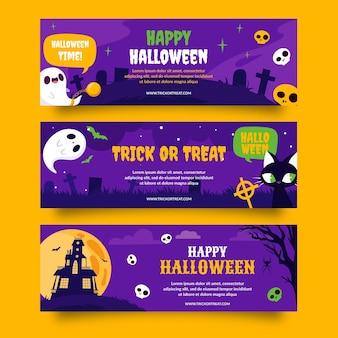 Set di banner orizzontali piatti di halloween disegnati a mano