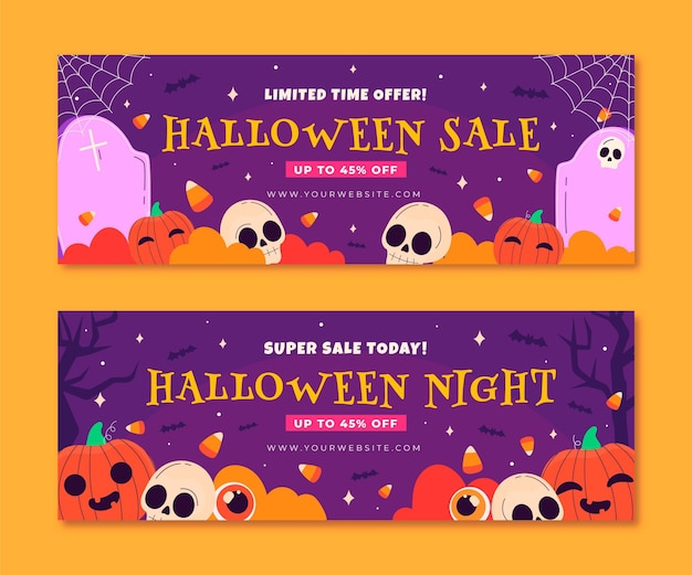 Hand drawn flat halloween horizontal sale banners set