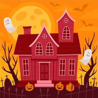 Illustrazione di casa di halloween piatta disegnata a mano Vettore gratuito
