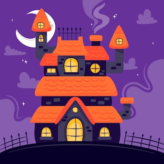 Hand drawn flat halloween house illustration