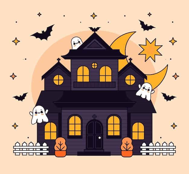 Нарисованная рукой плоская иллюстрация дома хэллоуина
