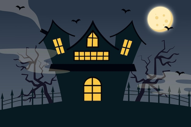 손으로 그린 평면 할로윈 집 그림