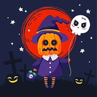 Нарисованная рукой плоская иллюстрация хэллоуина