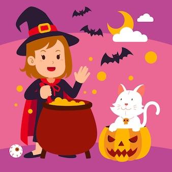 Hand drawn flat halloween illustration