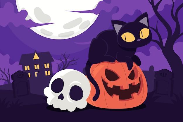 Illustrazione di halloween piatta disegnata a mano
