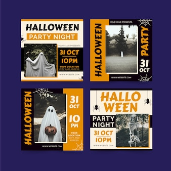 Hand drawn flat halloween instagram posts collection with photo