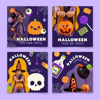 Нарисованная рукой плоская коллекция сообщений instagram хэллоуин с фото